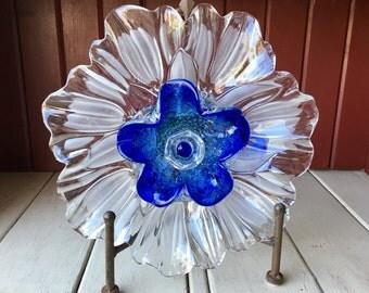 "SALE! Repurposed Glass Flower, Sun Catcher Glass Garden Art - ""Max"" MURANO Blue Glass Crystal Flower, Made from Glass Plates"