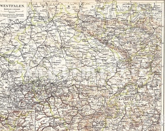 1908 Westphalia - Prussian Province at the Beginning of the 20th Century Original Antique Map