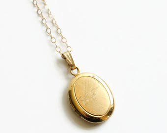Vintage Gold Filled Oval Locket Necklace, Engraved C.F,  Dainty Locket, Circa 1950's