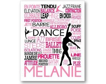 Dance Typography Art, Girl's Room Art, Choose Any Colors, Gift for any Dancer, Tap, Ballet, Hip-Hop Teacher Dance Team, Canvas or Art Print