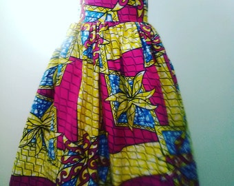 High Waist Floral African Wax Print Skirt