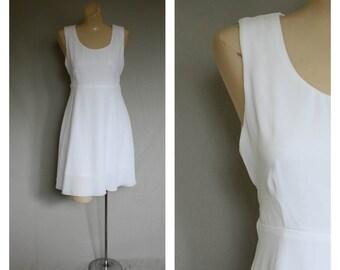 1980s White Easter Mini Dress / Chiffon Baby Doll Dress / Vintage Spring Dress / 80s White Cocktail Dress / LaBelle Dress M