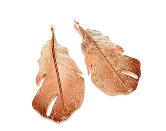 2 Rose Gold Plated Feather Charms - 27-33-5