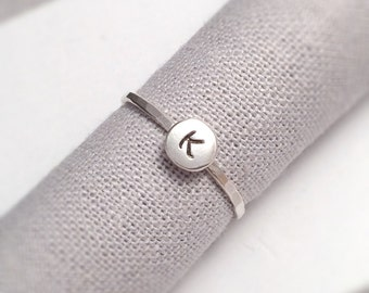 Silver Initial Ring | Silver Stacking Rings | Alphabet Monogram Rings | Sterling Silver Dainty Rings | Personalised Silver Rings UK