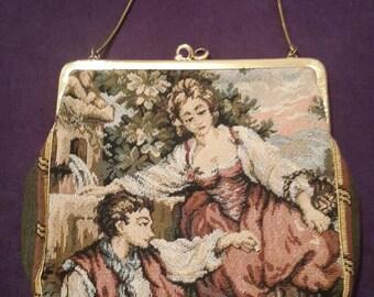 Pretty vintage scenic figural tapestry handbag c 1960's