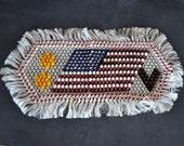 WW2 Victory Flag | Patriotic Dresser Scarf | Chenille and Silk Dresser Scarf | Americana | V-Day Souvenir | Stars and Stripes