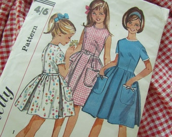 Vintage Size 8 Girl's Dress with Full Skirt- Simplicity Sewing Pattern No 5900