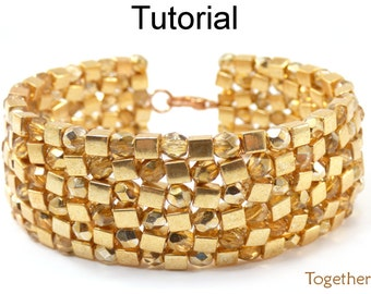Beading Patterns and Tutorials - Beaded Bracelet - Herringbone Stitch - Square Cube Beads - Simple Bead Patterns - Together Bracelet #20596