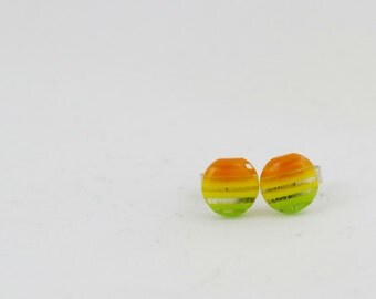 Red Yellow and Green Striped Circle Stud Earrings 8mm