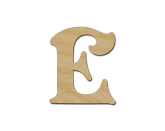 "Letter E Unfinished Wooden Letters 6"" Inch Tall"