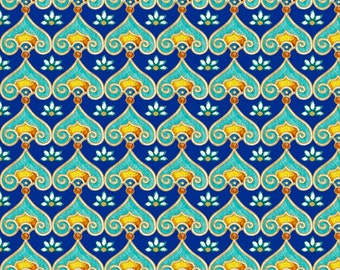 Pretty as a Peacock fabric - Geometric - blue teal yellow metallic gold - Kate Follows for Quilting Treasures - by the continuous YARD