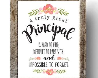 Principal Gift - A Truly Great Principal Art Print - Gift for Principal - Principal Quote - Art Gift Printable - Principal - Education