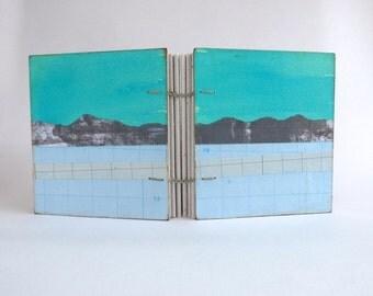 Journal, Notebook or Sketchbook blank book - blue and grey - hardback