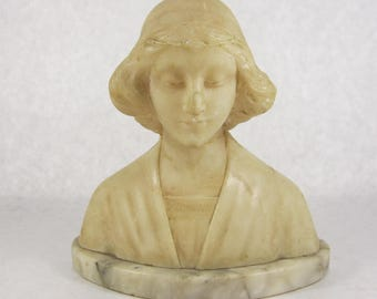 French Beatrice alabaster bust 1920s NYC apartment art deco