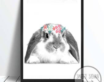 Bunny Print, Animal Print, Rabbit decor, Rabbit wall print, wall art, monochrome print, wall decor, children wall art - 8x10'