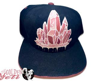 Crystal Cluster Hand Painted Custom Snapback in pink