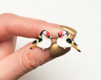 Hand painted Bird earrings - Goldfinch Earrings - Hand drawn - Goldfinch jewelry - Hipster - indie earrings - finch earrings