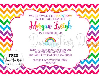 Rainbow Invitation, Rainbow Chevron Party, Invitation, Invite, Birthday Party, Rainbow Chevron Invitation,