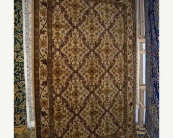 YEAR END CLEARANCE 1990s Hand-Knotted Vintage Indian Kerman Rug (1850)