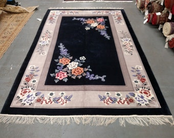 1980s Vintage Hand-Knotted 6x9 Art Silk Sculpture Chinese Rug (2602)