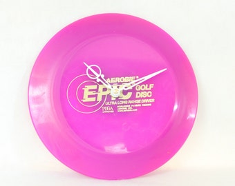 Fuschia Aerobie Epic Golf Disc Wall Clock, Ultra Long Range Driver, PDGA Approved, Geekery, Clocks by DanO