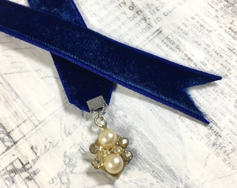 Vintage Velvet Bookmark - Dark Blue with Rhinestone Upcycled Earring