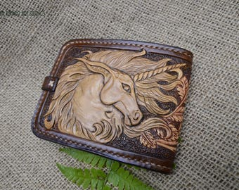 Leather wallet, Bi-fold wallet with the Unicorn and roses, made to order customized listing