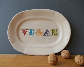 Vegan Ceramic Plate / Decorative Dish / Tray / Gift / Family / Valentine