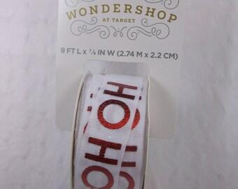 Ho Ho Ho Ribbon Red Lettering on White Ribbon 9ft on Roll Shown
