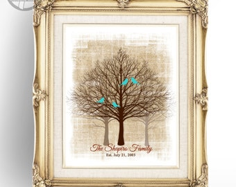 """Family Tree Art Print, Personalized Family Art, Birds Name Date, Brown, 8""""x10"""" or 11""""x14"""" Anniversary Birthday Christmas Gift - UNFRAMED"""