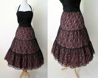 1950s Black Lace Over Pink Crinoline Skirt