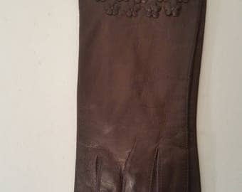 Vintage Leather Gloves 1960's Brown Lambskin Unlined Above the Wrist Formal Gloves NOS Flower Cut-Out Appliques on Hand Tops Size 6 1/2