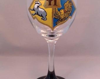 Harry Potter Hogwarts Crest Painted Wine Glass
