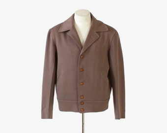 Vintage 30s Men's JACKET / 1930s Mid-Weight Taupe Gabardine Wool Real Sport Coat M 42