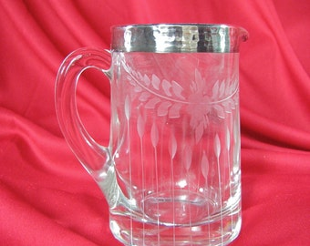 Antique Etched Crystal & Sterling Silver Overlay Creamer /  Miniature Serving Pitcher / Vase