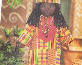 """New Vogue Craft Sewing Pattern # 9138 For Ethnic African 18"""" Doll Designed by Linda Carr Iron on Face Transfer Included. Free Shipping"""