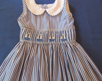 Hand smocked dress with sailboats. Beach, summer and more