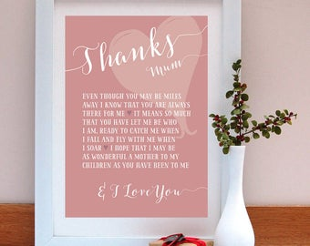 Thanks mum personalised print/ Gift for Mum/ Birthday Gift for Mum/ Mother's Day Gift/Personalised Gift / Personalized Gift/ Print Gift