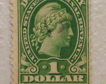 1920 Antique US Documentary 1 Dollar Stamp, Scott RD37