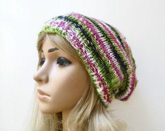 Sale! Wool Bamboo Slouchy Beanie - Hand Knit Hat - Women Knit Hat - Green Pink Black Slouch - Wool Bamboo Oversized Beanie - ClickClackKnits