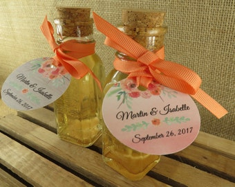 Vintage Style Honey Bottles With Corks And Personalized Coral/Peach Watercolor Floral Design Tags - DIY Honey Wedding Favors - 24 - wfcp
