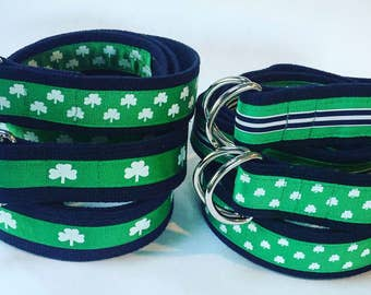 Shamrock Belt / Irish Belt / Clover Belt / St Patricks Day Belt / Green Belt / Canvas Belt / Mens Belt