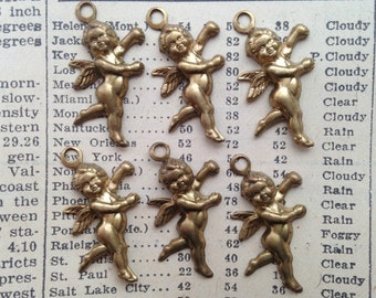 Vintage Brass Cupid Charms - Cherubs, Angels, Valentine's Day, Love - Qty 6