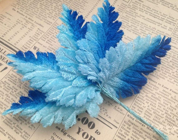 Vintage Velvet Millinery Leaves - Blue Ombre, Aqua - Large, Fancy Fabric Leaves, Wire Stems - Hat Making, Corsage Supplies, Habdashery