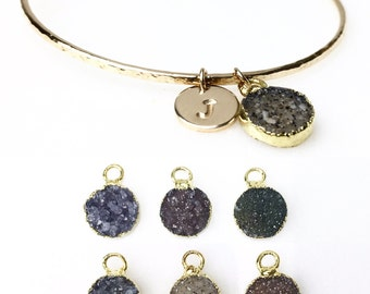 Gold Filled Druzy Charm Bracelet / Personalized Druzy Bracelet / Gold Gemstone Jewelry / Gift for Her / Bridesmaid Initial Gift