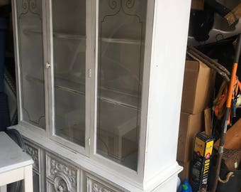Shabby Chic Vintage China Cabinet with Glass Shelves and lights