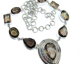 Smoky Topaz Sterling Silver Necklace - weight 41.20g - dim 1 1 2 inch - code 21-lip-16-51