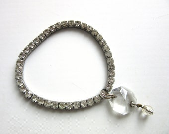 Rhinestone Stretch Charm Bracelet Faceted Crystal Bead