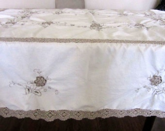 Large Madeira Tablecloth Ivory & Ecru with Inset Crochet Lace and Cut Work Embroidery Oblong 74 x 56 Inches