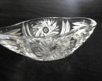 Small Cut Glass Salt or Mustard Dish Deeply Etched Pinwheel Design Boat Shaped Antique